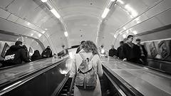 Tubelife (Jenne Barneveld) Tags: tube tubelife londen londentube girl backpack moving transport transportlife blackandwhite blackwhite monochrome blackandwhitephotography people