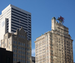 The Joule Hotel (left) built in 1927 in Gothic revival style as the Dallas National Bank Building and Magnolia Hotel (right) completed in 1922 with 29 floors in Beaux-Arts style, originally built as the headquarters for the Magnolia Petroleum Company (sandorson) Tags: dallas texas usa