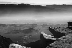 Owens Valley Geology - explored 12-17-2018 (speedcenter2001) Tags: sierra sierranevada highsierra california nationalpark sequoia sequoianationalpark hiking backpacking backcountry wilderness mountains johnmuirtrail jmt outdoor outside adventure mountwhitney mountain mountaineering summit peak altitude 14505 monochrome blackandwhite noiretblanc schwarz weiss sep2 silverefexpro2 silverefex haze alabamahills