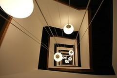 10 lights (Elbmaedchen) Tags: stairs staircase stairwell stufen steps lights lampen interior upanddownstairs treppenhaus treppe escaliers escaleras architektur architecture dresden eckig spirale spiral