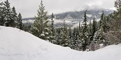 Nice view up here (eacmich) Tags: valley cliff depth clouds cold winter serene green grey gray samsung mobile note8 android snowcapped britishcolumbia canada bostonbar