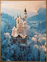 Neuschwanstein in Winter (pefkosmad) Tags: jigsaw puzzle hobby leisure pastime ravensburger used secondhand complete 1500pieces castle photograph photo winter scene neuschwansteininwinter winterlichesneuschwanstein ludvigiiofbavaria fairytale december christmas