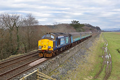 37425 Holme Island crossing 11th January 2019 (John Eyres) Tags: to complete set dull conditions 37425 seen between meathop grange over sands with final leg cumbrian class 37 farewell 2z38 1310 carnforth carlisle 110119
