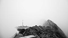 Top Mountain Star 3030 m in clouds (MLe Dortmund) Tags: hochgurgel top mountain view cloud leer wolken weis schwarzweis blackandwhite monochrome