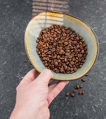 Coffee beans (annick vanderschelden) Tags: coffee bean coffeebeans brewer flavour roasted intense solid fiery espresso refined aroma taste colour seed pit caffeine beverage alkaloid proteins carbohydrates endosperm arabica crockery pottery belgium