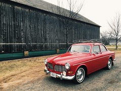 The '67 Volvo is running again. (63vwdriver) Tags: volvo 122 122s amazon red coupe vintage glastonbury ct connecticut tobacco shed barn