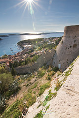 Spanish Fortress, Hvar (Kenster1980) Tags: hvar croatia hrvatska dalmatia cityofhvar spanishfortress battlements fortification adriatic islands canon 700d rebelt5i tokina wideangle seascape coast water defence flare