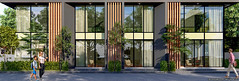 Apartment Base Lumion 9 (kamonight) Tags: tree facade elevation arch visulization green glass curtain wood road furniture entrance apartment design