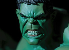 Green and angry (Millie Cruz) Tags: incrediblehulk superhero fiction green macromondays hulk angry face actionfigure teeth lightandshadow pvc marvel avengers macro ef100mmf28lmacroisusm collectable