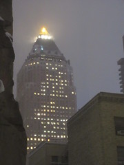 Pyramid Tower Light Atop the World Wide Plaza Building 5108 (Brechtbug) Tags: pyramid tower light atop world wide plaza building looking north after snowstorm nyc 2018 hell s kitchen clinton new york city clouds evening fog sky foggy cloud art architecture buildings view hells 11152018 november fall autumn