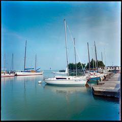Lake Balaton Marina (Mister Electron) Tags: 120rollfilm bw biometar80mmf28 carlzeiss carlzeissjena kodakplusxpan mediumformat pentacon6 analogue blackwhite blackandwhite film monochrome negative rollfilm