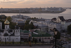 View of Nizhny Novgorod (Lyutik966) Tags: nizhnynovgorod russia city cityscape volga oka river water architecture building church dome roof street bridge