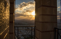 Gods Shining Down on the Ancient City (music_man800) Tags: gods shining down ancient athens greece capital city ahenien hellenic country view scenery skyline scene mount lycabettus hill furnicular church railings outlook holiday vacation breaki break canon 700d adobe lightroom creative cloud edit photography moment magic magical rays light flare arty artistic sunset sun set sunny weather afternoon late evening dusk end day september autumn beautiful pretty natural lighting golden glow hour patterns