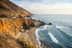 Sunset At Pacific Highway (thedot_ru) Tags: sunset pacifichighway pch highway1 road boats coast mountain ocean water orange drygrass clouds waves california cali ca usa unitedstates travel travelling travels trip tourism tourist adventure wanderlust sand canon5d 2014