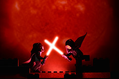 LEGO Darth Vader Vs Darth Maul (40gOingOn4!) Tags: lego star wars darth vader maul lightsaber battle red minifigure minifigures toy toys nikon d7100 105mm macro rob robert trevissmith uk
