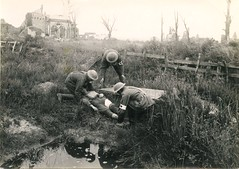 WW1 wounded in Ypres, Belgium (Aussie~mobs) Tags: ypres belgium ww1 wounded soldier medical ambulance army australia military medic stretcher field shellhole aif lestweforget anzac