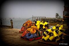 On the Coast of Maine (pandt) Tags: lobster buoy coast maine marina ropes rope yellow blue boats fog foggy mist misty coastal newengland canon eos slr 7d owlshead outdoor ocean harbor bay seaside fishing buoyant
