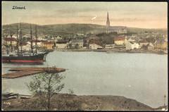 Postkort fra Agder (Avtrykket) Tags: bark bolighus brygge havn hus kirke postkort seilskute tømmer uthus lillesand austagder norway nor