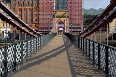 River Clyde Suspensiion Bridge (dmcimages57) Tags: light sunlight interesting bridge suspension architectural pictorial clyde glasgow scotland steelwork shadows