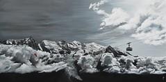 Mont Blanc vue de Planpraz acrylique sur toile 195x97cm à vendre