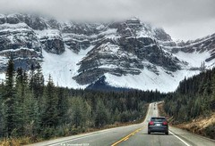 Driving north into the heart of the Canadian Rockies on the Icefields Parkway (PhotosToArtByMike) Tags: icefieldsparkway banffnationalpark canadianrockies banff albertacanada drivingnorth mountain mountains alberta