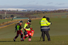 21 Filming walking to the casualty, Scone (wwshack) Tags: airbushelicopters ec135 egpt eurocopter psl perth perthairport perthshire scaa stv scone sconeairport scotland scotlandscharityairambulance helicopter photoshoot
