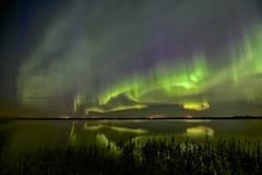 Western view April 21 2017 (John Andersen (JPAndersen images)) Tags: alberta aurora beiseker night pond reflections