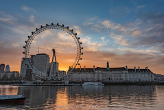 Sunrise on The River Thames (DonMiller_ToGo) Tags: sunrise london londoneye riverthames