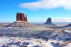"""Snow Mittens"" (~ Ron ~) Tags: monumentvalley arizona landscape highdesert redsandstone mittens westmitten eastmitten butte sky winter snow"