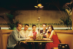 Friends (somber_li) Tags: film kodak kodak200 kodacolor people 35mm youth restaurant light friends db olympus μii