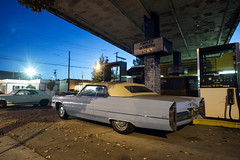 (Curtis Gregory Perry) Tags: lakeoswego cadillac ford fairlane convertible coupe deville night gas station longexposure pump nikon d810