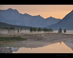 take your time (Gordon Hunter) Tags: morning glow fog mist trees forest wilderness sunrise color water landscape nature country reflection calm serene abraham lake rockies rocky mountains ab alberta canada gordon hunter summer nikon d5000
