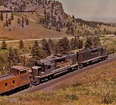 Rio Grande #183 Train/Coal Creek Canyon-1974. (Wheatking2011) Tags: rio grande 183 coal creek canyon caboose helpers tunnel 1 trying for head end power rear same photo june 14 1974