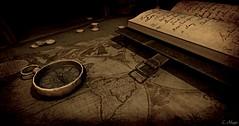 Horizon (Loegan Magic) Tags: secondlife desk stilllife map journal watch sepia vintage travel compass