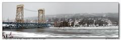 Portage Lake Lift Bridge, Houghton - Hancock, Michigan (gardnerphotos.com) Tags: winter storm bridge keewenaw michigan up lakesuperior hancock portagelakeliftbridge liftbridge gardnerphotoscom white river water fog