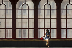 Waiting girl (Jan van der Wolf) Tags: map184449v waiting wachten girl woman vrouw dissymmetry architecture architectuur station windows lines lijnen lijnenspel playoflines interplayoflines antwerpen