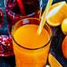 Pomegranate juice and orange with tubules