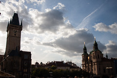 Old Town Square, Prague (Jeremy Caney) Tags: blueskies centraleurope church clouds cloudy czechrepublic czechia dramatic dusk europe lighting oldtown oldtownhall oldtownsquare prague silhouette sunlight travel trees hlavníměstopraha