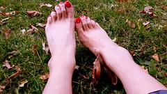 ($$Rachel$$) Tags: feet toes cute red legs grass