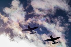 彩雲とT-7ーIridescent clouds and T-7 (kurumaebi) Tags: yamaguchi 秋穂 山口市 nikon d750 nature landscape 雲 彩雲 cloud autumn 秋 飛行機 sky 空