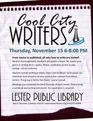 Cool City Writers (Lester Public Library) Tags: 365libs lesterpubliclibrary librariesandlibrarians lpl library lesterpubliclibrarytworiverswisconsin libraries libslibs tworiverswisconsin publiclibrary publiclibraries writers writing libraryprogram libraryprograms creativewriting writersclub wisconsinlibraries readdiscoverconnectenrich