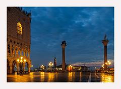 Sans Tourists (www.halkaphoto.com) Tags: europe italy veneto venice venezia sanmarco piazza dogespalace palazzoducale grandcanal columns lionofvenice sttheodore dawn morning sunrise bluehour citylights sangiorgiomaggiore