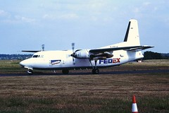 G-FEAE F27 Federal express CVT 31-05-1990 (cvtperson) Tags: gfeae fokker f27600 friendship federal express coventry airport cvt egbe