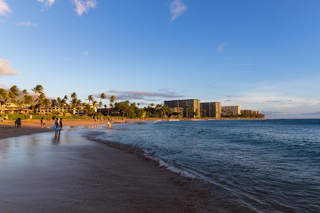 Kaanapali beach during golden hour Maui, Hawaii