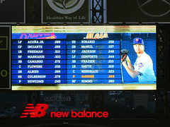 Citi Field, 09/26/18 (NYM v ATL): tonight's starting lineups as shown on the right field scoreboard - the orange text on the Mets' lineup scrolls down, highlighting each player's name and showing a photo of that player (IMG_3576a) (Gary Dunaier) Tags: baseball stadiums stadia ballparks mets newyorkmets flushing queens newyorkcity queenscounty queensboro queensborough citifield