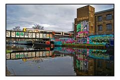 CANALSIDE GRAFFITI (StockCarPete) Tags: streetart london uk sweettoof toofterritory hackneywick canal canalside graffiti urbanart reflection londonovergroundtrain bridge railwaybridge