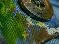 The Painter's Boilersuit (BeMo52) Tags: button cloth knopf macro macromondays makro overall stoff textile boilersuit coverall jumpsuit ganzkörperkondom