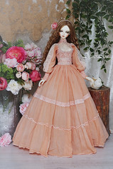 Frost Apricot (AyuAna) Tags: bjd ball jointed doll dollfie ayuana design minidesign handmade ooak clothing clothes dress set outfit gown robe vetement habilles fashion couture sewingfordolls sewing historical edwardian style sadol yena whiteskin