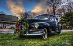 Classic Car Christmas (* Gemini-6 *) Tags: nash transportation automobile hdr vehicle chrome reflection sky clouds decorations wreath wideangle lowangle