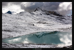 Turquoise in white (Ilan Shacham) Tags: landscape view scenic lake water reflection snow peak mountain alps wanderlust turquoise fineart fineartphotography laghicimebianche cervinia cervino italy